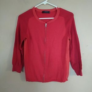 The Limited S Red 3/4 Sleeve Zip Front Cardigan